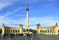Hungary, Budapest, Heroes Square, Millennium Monument.