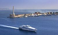 Italy, Sicily Island, Mesina City, Lighthouse, Mesina Strait.