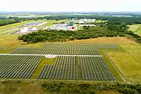 Drone aerial view of a Solar Power station in Hardee County, Florida.