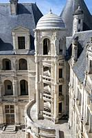 Inner face of Chambord Castle with detail of one of the outer stairs.
