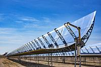 Solar cells or solar module or solar panels in solar power plant turn up skyward absorb the sunlight from the sun use light energy to generate electri...