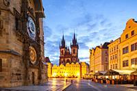 Dawn at Prague old town square, Czechia.
