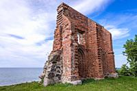 Ruins of old church on a Baltic Sea beach in Trzesacz village, West Pomeranian Voivodeship of Poland.