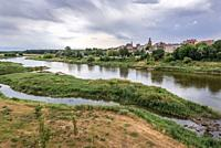 Obrzycko town located over Warta River in Szamotuly County, Greater Poland Voivodeship, Poland.