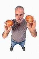 man with muffin on white background.