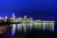 Beautiful Vancouver with view to the Conventions Center during the blue hour.