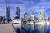 Yaletown's marina in Vancouver, British Columbia, Canada during a sunny fall day in October 2019.