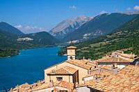 View of Barrea lake, in National park of Abruzzo, and mountains on background.