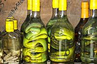 Traditional Vietnamese alcoholic beverages fermented and infused with snakes. Vietnam, Southeast Asia.