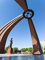 The victory square and the big memorial commemorating the great patriotic war, 2. world war. The capital Bishkek . Asia, Central Asia, Kyrgyzstan.