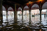 Rialto fish market during the high tide in Venice, november 2019, Venice, Italy, Europe.