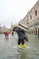 St. Mark's square during the high tide in Venice, november 2019, Venice, Italy, Europe.