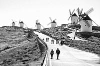 Consuegra Toledo province, Spain: Windmills and tourists during the festival of the saffron.