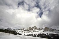 Snowy Dolomites mountains in Trentino Italy.