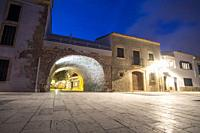 Altafulla is a medieval village near Tarragona Catalonia Spain on September 20, 2019. Promenade and beach by twilight.