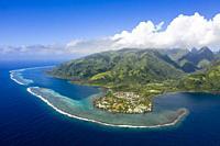 Aerial View of Vaitephiha Valley, Tahiti, French Polynesia.