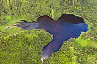 Aerial View of Lake Vaihiria, Tahiti, French Polynesia.