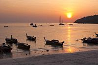 Sunset view from sunset beach on Ko Lipe island, Thailand.