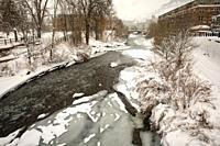 Snowy Clear Creek landscape in winter. Golden, Colorado, USA.