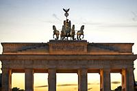 Brandenburger Tor - commissioned by Friedrich Wilhelm ll to represent peace, designed by Carl Gotthard Langhans. Consists of 12 Doric columns, six on ...