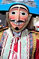Mazcaras. Winter masks of A Xironda carnival of A Xironda, Cualedro, Orense, Galicia, Spain.