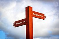 """Wooden sign stating """"""""Smugglers Trail"""""""" outskirts of Troon, Ayrshire, Scotland."""