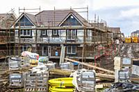 New build houses under construction on a site run by Stewart Milne, Troon, Ayrshire, Scotland, UK.