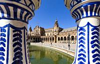 The Plaza de España (Spain Square) in the Parque de María Luisa (Maria Luisa Park), in Seville, Spain, built in 1928 for the Ibero-American Exposition...