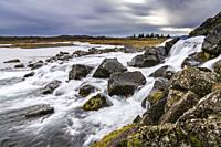 Rushing water, Oxara river, Thingvellir National Park, Iceland. Unesco World Heritage Site.