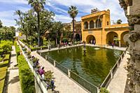 Gardens at Real Alcazar de Sevilla, The Royal Alcázar of Seville is a royal palace in Seville Andalusia Spain.