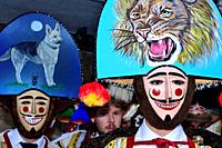 Peliqueiros in Sarreaus. Masks of Laza or Campobecerros in Sarreaus, Orense, Spain.