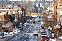 Downtown Golden, Colorado, USA in winter.
