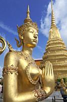 Statue of Kinnari, traditional symbol of feminine beauty at Wat Phra Kaeo, the Royal Grand Palace, Bangkok,Thailand.