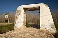 Portales de Feixa y canales de riego de origen musulman. Prat de Ses Monges. Ibiza. Balearic islands. Spain.