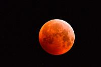 Eclipse of super moon, lunar eclipse, red supermoon, blood moon, red orange full moon with sparkling stars, 21st January 2019, Germany. . (