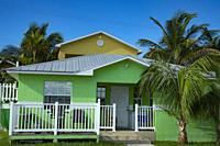 Colorful hotel at Rosieâ. . s Place Grand Cay Abacos Bahamas.