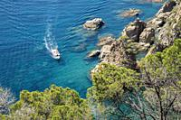 Sail Boats and yachts along the coast of Spain, Europe, Catalonia, Costa Brava Coast,.