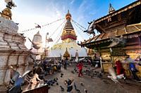 Kathmandu, Nepal - Sunrise morning view of Swayambhunath Stupa or Monkey Temple Buddhist Monastery in Kathmandu, Nepal. A UNESCO World Heritage Site.
