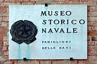 Museo Storico Navale in the historic Venetian Arsenal in Castello district of Venice - Italy.