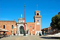View of the entrance to the historic Venetian Arsenal and Naval Museum in Castello district of Venice - Italy.