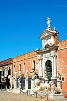 Entrance to the historic Venetian Arsenal and Naval Museum in Castello district of Venice - Italy.