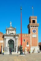 Arsenal and Naval Museum in Castello district of Venice with entrance and tower - Italy.