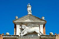 Portal at the entrance to the historic Venetian Arsenal and Naval Museum in Castello district of Venice - Italy.