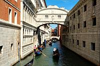 Bridge of Sighs between the Doge's Palace and the prison Prigioni Nuove of Venice - Ponte dei Sospiri - Italy.