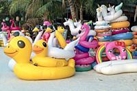 Inflatable beach toys, Sai Kaew Beach, Ko Samet, Thailand.
