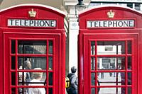 Red telephone boxes, James Street, Covent Garden, London, England.