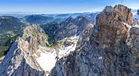 View from the 2962 Panorama deck on Germany's highest mountain, the Zugspitze looking towards the Hollentalklamm Gorge, Zugspitze, Wetterstein mountai...