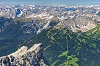 View from the 2962 Panorama deck on Germany's highest mountain, looking in the direction of Lermoos on the Austrian side of the Zugspitze, Wetterstein...