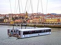 Puente Colgante de Bizkaia with Portugalete in background. Biscay, Basque Country, Spain.