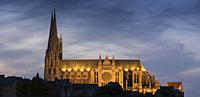 Europe, France, Chartres, Cathedral dusk.
